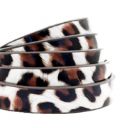10 mm flat faux leather leopard print White-Brown