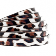 5 mm flat faux leather leopard print White-Brown