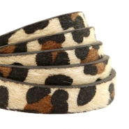 10 mm flat faux leather hairy leopard print Beige