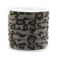 Trendy stitched cord leopard print 6x4mm Grey