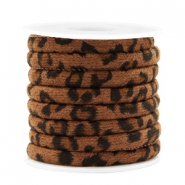 Trendy stitched cord leopard print 6x4mm Walnut Brown