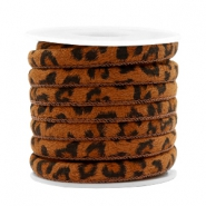 Trendy stitched cord leopard print 6x4mm Cognac Brown