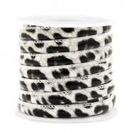 Trendy stitched cord leopard print 6x4mm White