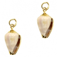 Shell bead specials Cone Shell Off White-Gold