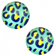Basic cabochon 20mm Leopard-Sea Blue
