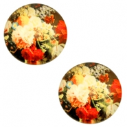 Basic cabochon 12mm Flowers-Multicolour Red