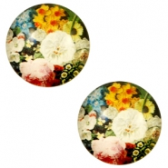 Basic cabochon 12mm Flowers-Multicolour Pink