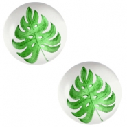 Basic cabochon 20mm Tropical leaf-Light Grey