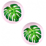 Basic cabochon 20mm Tropical Palm Leaf-Palace Rose