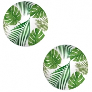 Basic cabochon 12mm Tropical Leaves-white