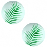 Basic cabochon 12mm Fern Leaf-Light Turquoise Blue