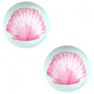 Basic cabochon 12mm Shell-Light Lagoon Green