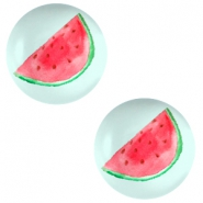 Basic cabochon 12mm Watermelon-Light Turquoise Blue