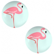 Basic cabochon 12mm Flamingo-Light Turquoise Blue