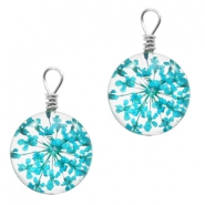 Charms with dried flowers 12mm Turquoise Blue