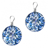 Charms with dried flowers 12mm Sapphire Blue