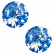 Basic cabochon with dried flowers 12mm Sapphire Blue