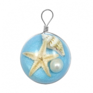Charms with seastar 20mm Paradise Blue