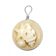 Charms with seastar 20mm Beige Brown