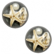 Basic cabochon with seastar 20mm Anthracite Black