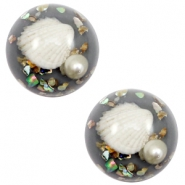 Basic cabochon with shell 20mm Grey