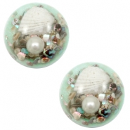 Basic cabochon with shell 20mm Turquoise Green