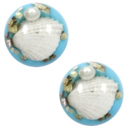 Basic cabochon with shell 20mm Sky Blue