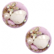 Basic cabochon with shell 20mm Lilac Purple