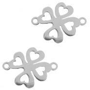 Charms stainless steel connector clover Silver