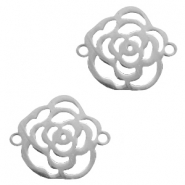 Charms stainless steel connector rose Silver