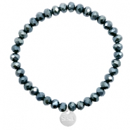 Sisa top faceted bracelets 6x4mm ( stainless steel charm) Dark Greige Montana Blue-Top Shine Coating