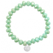 Sisa top faceted bracelets 8x6mm ( stainless steel charm) Green Ash-Top Shine Coating