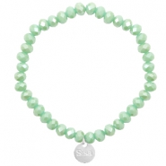Sisa top faceted bracelets 6x4mm ( stainless steel charm) Green Ash-Top Shine Coating