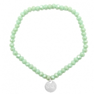 Sisa top faceted bracelets 4x3mm ( stainless steel charm) Green Ash-Top Shine Coating