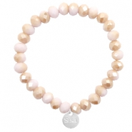 Sisa top faceted bracelets 8x6mm ( stainless steel charm) Light Rose-Rosegold Half Pearl Top Shine Coating