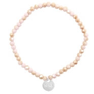 Sisa top faceted bracelets 4x3mm ( stainless steel charm) Light Rose-Rosegold Half Pearl Top Shine Coating