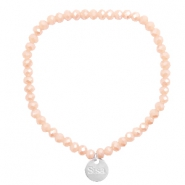 Sisa top faceted bracelets 4x3mm ( stainless steel charm) Vintage Creamy Rose-Top Shine Coating