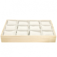 Jewellery display 12 compartments with pillow Natural-Off white