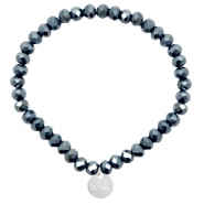 Sisa top faceted bracelets 6x4mm ( stainless steel charm) Dark Blue-Top Shine Coating