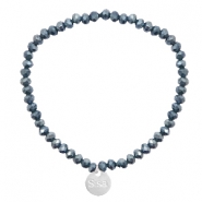Sisa top faceted bracelets 4x3mm ( stainless steel charm) Dark Blue-Top Shine Coating