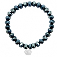 Sisa top faceted bracelets 8x6mm ( stainless steel charm) Dark Greige Montana Blue-Top Shine Coating