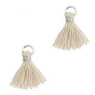 Tassels 1cm Silver-Bleached Sand Brown