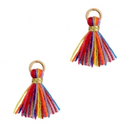 Tassels 1cm Gold-Multi Colour Red Blue