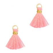 Tassels 1cm Gold-Neon Coral Pink