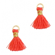 Tassels 1cm Gold-Fusion Coral Red