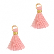Tassels 1cm Gold-Shell Pink