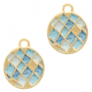 Basic Quality metal charms round 14mm Gold-Blue