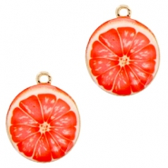 Basic Quality metal charms grapefruit 21mm Gold-Fresh Coral Pink