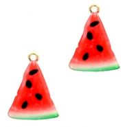 Basic Quality metal charms watermelon Gold-Pink Green