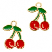 Basic Quality metal charms cherry Gold-Red Green